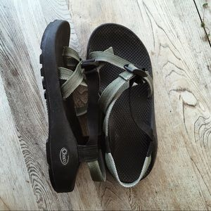 CHACO// olive green and black Vibram soles